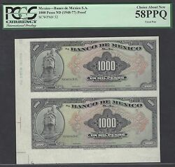 Mexico 1000 Pesos Nd1948-77 P52p Uncut Sheet Proof About Uncirculated