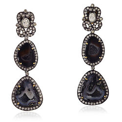 Memorial Day 18kt Gold Sterling Silver Geode Pave Diamond Dangle Earrings Jewels