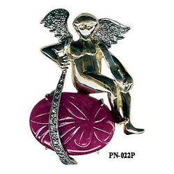 Memorial Day Antique Angel Pendant 14k Gold Pave Diamond Ruby 925 Silver Jewelry