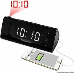 Electrohome EAAC475W USB Charging Alarm Clock Radio with Time Projection Batter