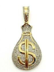 Solid Multi-tone Gold And Diamond 3d Money Bag Dollar Sign Charm, 10k, 7.7 Grams