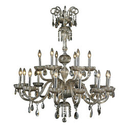 18-light D36 H39and039and039 Chrome Finish Golden Teak Crystal Candle Chandelier 2 Tier