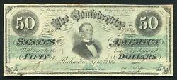1861 50 Fifty Dollars Csa Confederate States Of America Currency Note Vf+