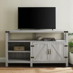 Farmhouse Barn Door Tv Stand Composite Adjustable Shelves Cable Management Gray