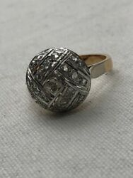 Antique 1900s 18k Yellow And White Gold Ring Size 7.5 W/ Old Miner Cut Diamonds 5g