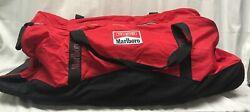 New Vintage 1990s Red And Black Marlboro Unlimited Gear Wheeled Duffle Bag 88862