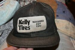 Vintage K-Products Denim Trucker Hat KELLY TIRES Patch Cap Made in the USA