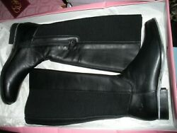 L-o-v-e Nib 195 Aetrex Jet Black Leather Quilted Tall Riding Boots 7.5m
