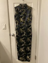 BLUE DRAGON CHINESE BLACK DRESS WITH OVERALL GOLD & BLACK FLORAL DESIGN - SZ 34