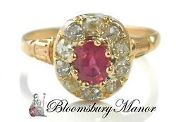 Antique Victorian French 0.55ct Ruby And Diamond Cluster Ring In 18k Yellow Gold