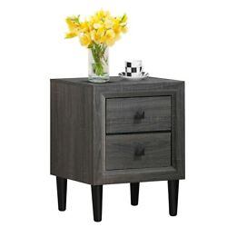 Retro Bedside Nightstand End Table with 2 Storage Drawers Bedroom Furniture