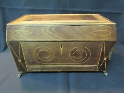 S38 Antique Wooden Inlaid Welsh Tea Caddy Brass Footed Porcelain Bowl Unusual