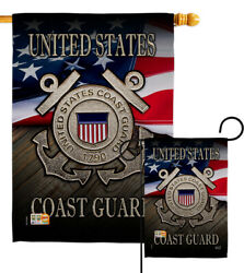 Us Coast Guard Military Garden Flag Emblem Armed Forces Rescue House Yard Banner