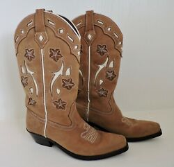 ROPER COWBOY BOOTS Women Sz 7.5 Tan Leather Cut Out Design Western Cowgirl Boots