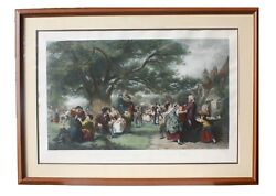 19th Century Colored Print An English Merry-making In The Olden Time Framed
