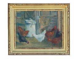 Feed Can And Chickens By California Plein Air Artist Meredith Brooks Abbott 1997