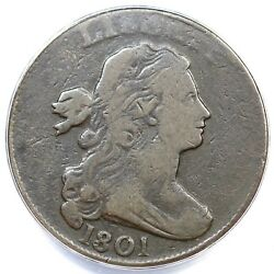 1801 S-219 R-2 Anacs Vg 10 3 Error Rev Draped Bust Large Cent Coin 1c