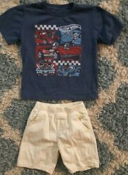 Jumping Beans*Toddler Boy Hot Wheels Top+Shorts Set*4T*EUC