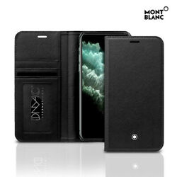 Montblanc Italian Calf Skin Leather Flip Wallet Cover Case for iPhone 11 Pro Max