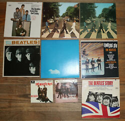 The Beatles And Solo Lot Of 9 Vintage Records
