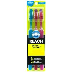 3 Pack Reach Toothbrush Extra Clean Firm Bristles Hard - Free Shipping