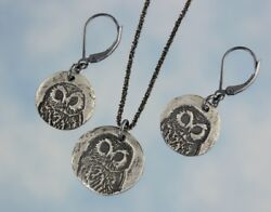 Peaceful Owl Face Necklace And Earring Set-handmade Fine Silver Charms + Sterling