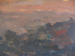 Tempura On Paper Painting By Listed Windsor Utley Rolling At Twilight