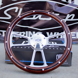 14 Billet Steering Wheel For Chevy - Mahogany With Rivets And Chevy Horn Button