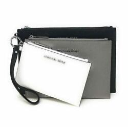 Michael Kors Jet Set Travel Trio Large 3 in 1 Wristlet Clutch Black Chalk Taupe $86.80
