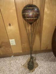 """Bijan Sculpture Copper """"up And Away """" 242/250 S/n Hot Air Ballon Kid And Dog"""