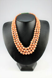Vintage Coral Necklace With Antique Jade And Gold Clasp