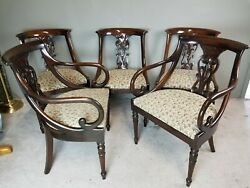 Set Of 5 Antique 1800's Hollywood Regency Solid Mahogany Scroll Arm Chairs