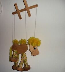 11 Calico Zoo Wood Cloth Yarn Primitive Horse Marionette String Puppet Toy 1980