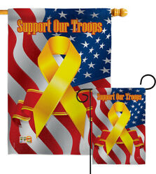 Support Our Troops Garden Flag Military Yellow Ribbon Veterans House Yard Banner