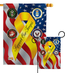 Support Our Troops Freedom Garden Flag Military Yellow Ribbon Veterans Banner