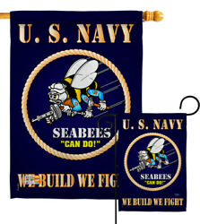Sea Bees Us Navy Garden Flag Usn Armed Forces Military Veteran House Yard Banner