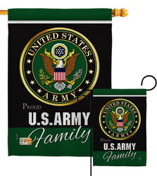 Us Army Proudly Family Garden Flag Armed Forces Military Veteran House Banner