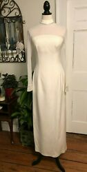 Michael Casey Couture Vintage Ivory Formal Dress Size 8