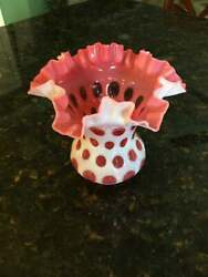 Large Fenton Cranberry Opalescent/cased Coin Dot Ruffled Vase Double Crimped