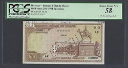 Morocco 500 Dirhams 29-5-1951 P45as Specimen Perforated About Uncirculated