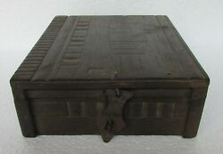 1930's Vintage Old Wooden Box Handcrafted 4 Compartment Dry Fruit Box