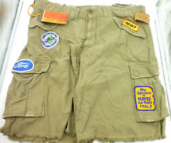 Cult of Individuality Men's Tyler Cargo Shorts Ford Patches Light Green Beige 38