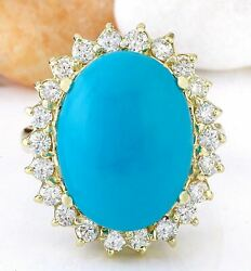 8.80 Carat Natural Turquoise 14k Solid Yellow Gold Diamond Ring