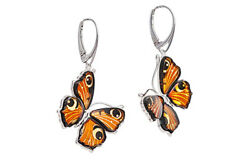 Natural Baltic Amber 925 Sterling Silver Butterfly Earrings Jewellery Jewelry