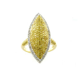 Real 2.01ct Natural Fancy Intense Yellow Diamonds Engagement Ring 18k Solid Gold
