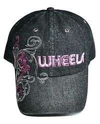 Wheels.com Gray Denim Embroidered Hat Strapback Adjustable
