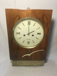 ANCIENT WALL MECHANICAL CLOCK WITH FIGHT AMBER CONDITION USSR