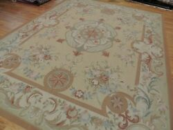 9x12 French Aubusson Area Rug Floral Beige Gold Blue/gray Green Medallion