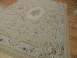 9x12 French Aubusson Area Rug Floral Beige Blue Rust Medallion Wool Hand-knotted