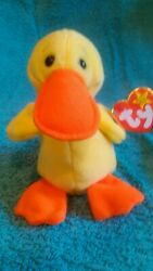 """Ultra Rare, New """"quackers"""" Beanie Baby, With P.v.c. Pellets And A German Tag"""